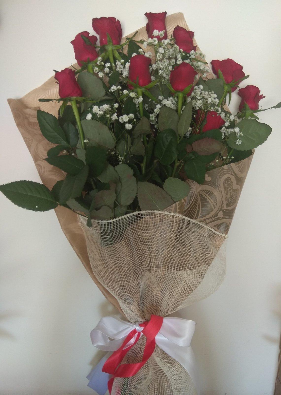 10 ΤΕΜ κατακόκκινα υπέροχα τριαντάφυλλα